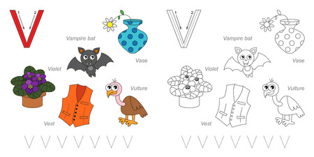 letter alphabet pictures: Tracing Worksheet for children. Full english alphabet from A to Z, pictures for letter V