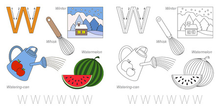 letter alphabet pictures: Tracing Worksheet for children. Full english alphabet from A to Z, pictures for letter W
