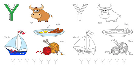 yarn guide: Tracing Worksheet for children. Full english alphabet from A to Z, pictures for letter Y Illustration