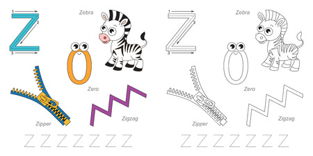 letter a z: Tracing Worksheet for children. Full english alphabet from A to Z, pictures for letter Z Illustration