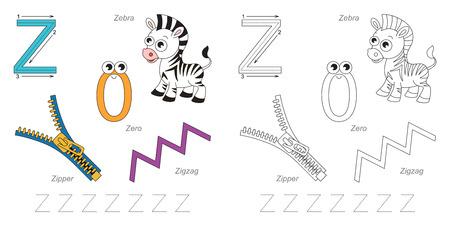 letter z: Tracing Worksheet for children. Full english alphabet from A to Z, pictures for letter Z Illustration