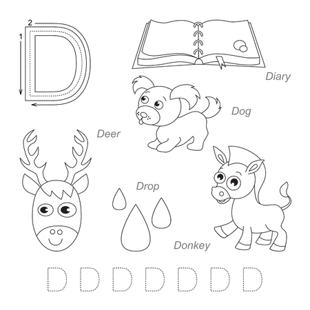 Tracing Worksheet for children. Full english alphabet from A to Z, pictures for letter D, the colorless version.