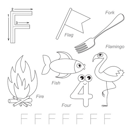 tracing: Tracing Worksheet for children. Full english alphabet from A to Z, pictures for letter F, the colorless version.