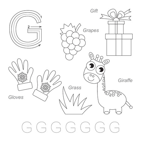 g giraffe: Tracing Worksheet for children. Full english alphabet from A to Z, pictures for letter G, the colorless version.