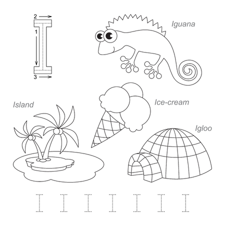 Tracing Worksheet for children. Full english alphabet from A to Z, pictures for letter I, the colorless version. Ilustração