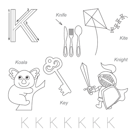letter alphabet pictures: Tracing Worksheet for children. Full english alphabet from A to Z, pictures for letter K, the colorless version.