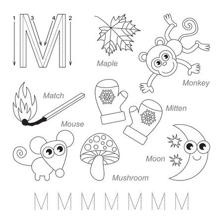 Cartoon Mammut Und Netz. Alphabet-Tracing-Arbeitsblatt: Schreiben AZ ...