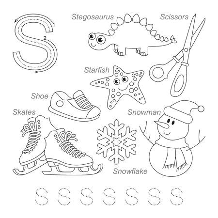 Tracing werkblad voor kinderen. Volledige Engels alfabet van A tot Z, foto's voor letter S, de kleurloze versie.