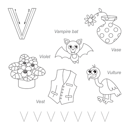 letter alphabet pictures: Tracing Worksheet for children. Full english alphabet from A to Z, pictures for letter V, the colorless version.