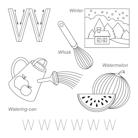 letter alphabet pictures: Tracing Worksheet for children. Full english alphabet from A to Z, pictures for letter W, the colorless version. Illustration