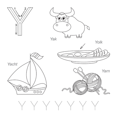 yarn guide: Tracing Worksheet for children. Full english alphabet from A to Z, pictures for letter Y, the colorless version.