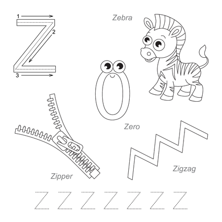 letter alphabet pictures: Tracing Worksheet for children. Full english alphabet from A to Z, pictures for letter Z, the colorless version.