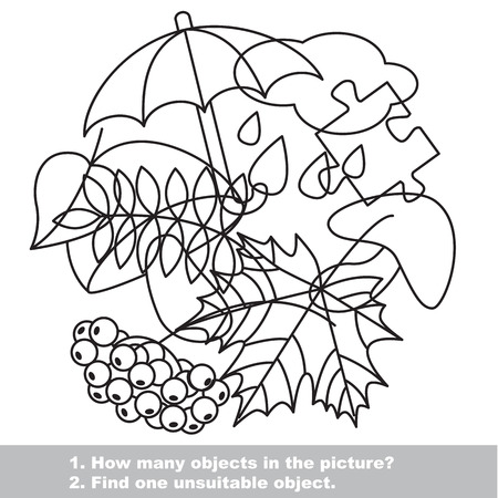 mishmash: Autumn mishmash set in vector outlined to be colored.  Find all hidden objects on the picture. Visual game for children.