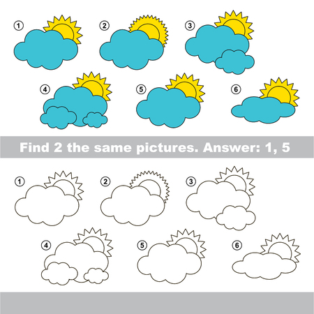 similar: The design difference.  Vector visual game for children. Task and answer. Find two similar Clouds