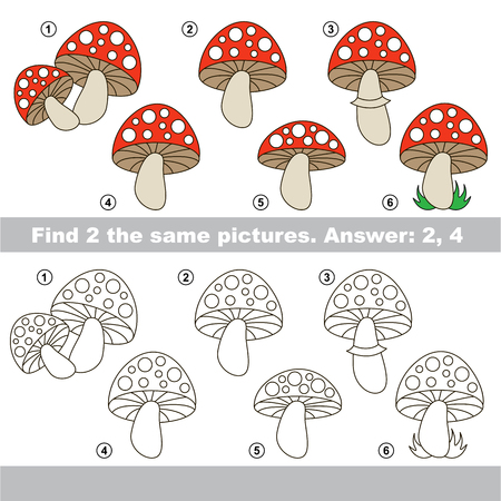 similar: The design difference.  Vector visual game for children. Task and answer. Find two similar Toadstools.