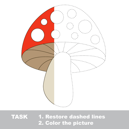 play poison: Toadstool in vector colorful to be traced. Restore dashed line and color the picture. Visual game for children. Worksheet to be colored.