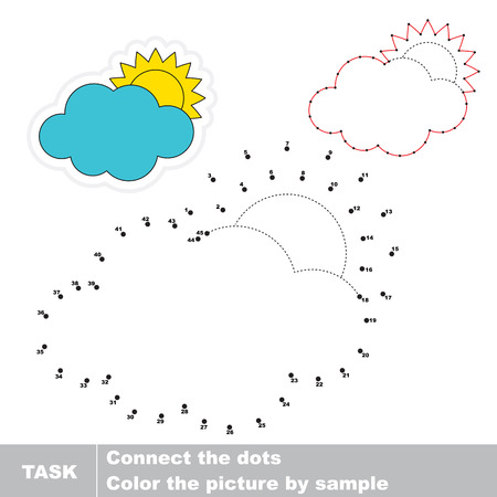 traced: Cloud in vector to be traced by numbers. Vector visual game for children. Illustration