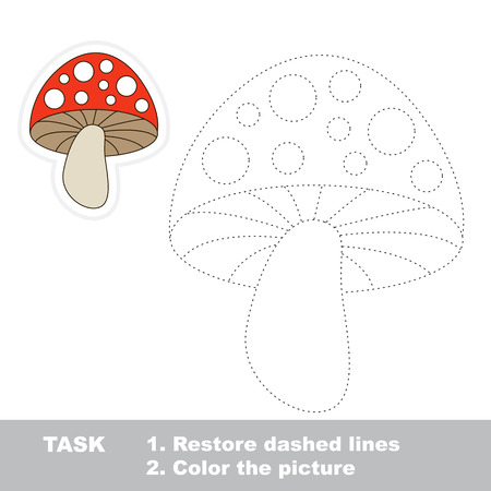 play poison: Toadstool in vector to be traced. Restore dashed line and color the picture. Trace game for children. Illustration
