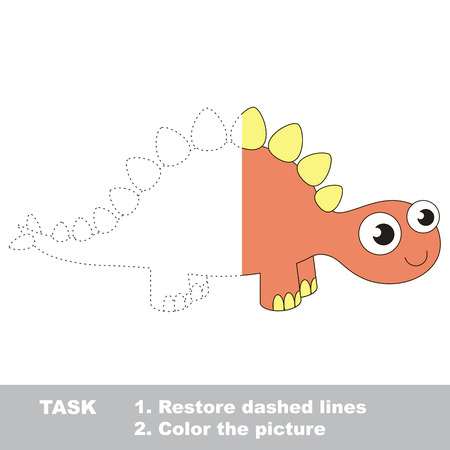 kid s illustration: Stegosaurus in vector colorful to be traced. Restore dashed line and color the picture. Visual game for children. Worksheet to be colored.