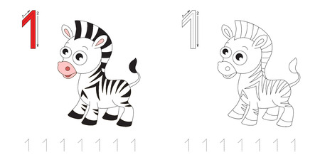 handwriting: Vector exercise illustrated alphabet. Learn handwriting. Page to be colored. Tracing worksheet for figure One