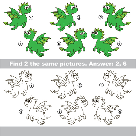 similar: The design difference.  Vector visual game for children. Task and answer. Find two similar Dragon
