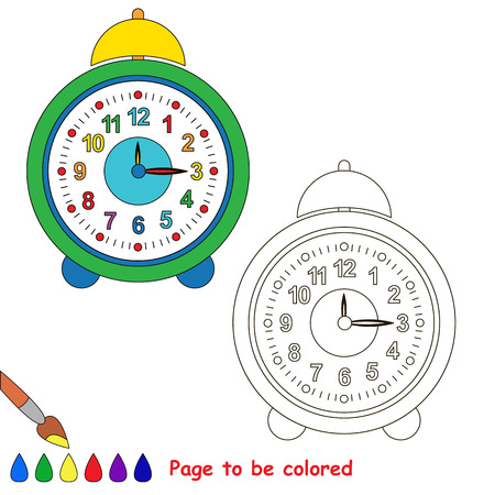 be green: Green clock to be colored. Coloring book for children. Visual game.