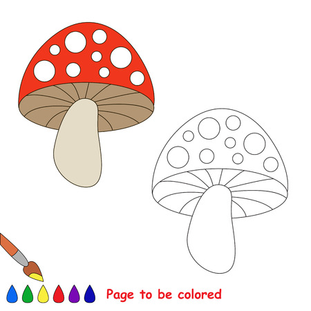 play poison: Toadstool to be colored. Coloring book for children. Visual game. Illustration