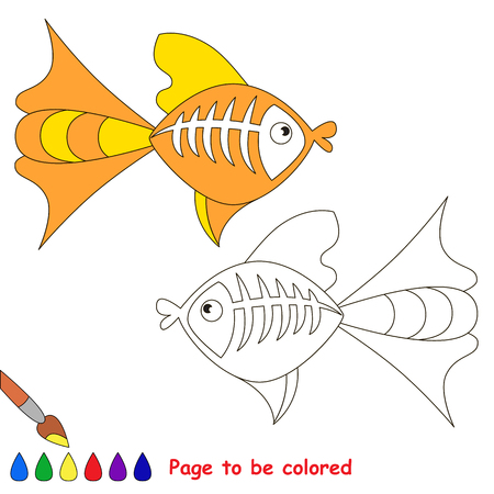 game fish: X ray fish to be colored. Coloring book for children. Visual game.