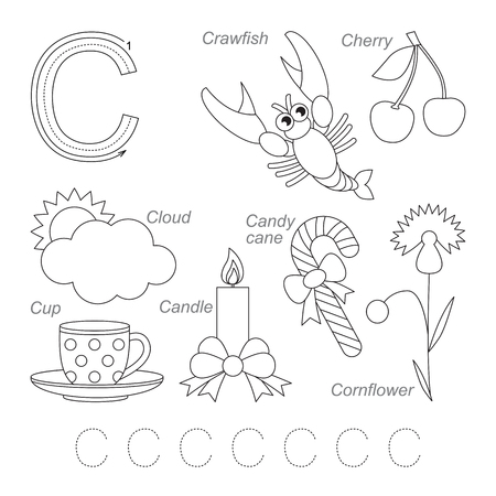 letter alphabet pictures: Tracing Worksheet for children. Full english alphabet from A to Z, pictures for letter C, the colorless version. Illustration