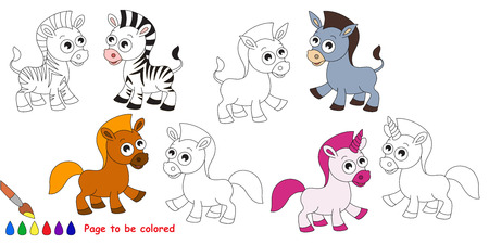 hoof: Horse set to be colored. Coloring book for children. Visual game. Illustration