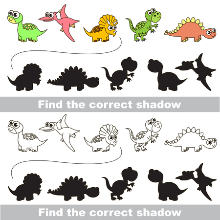 logic: Dinosaurs set with shadows to find the correct one. Compare and connect objects. and their true shadows. Logic game for children.