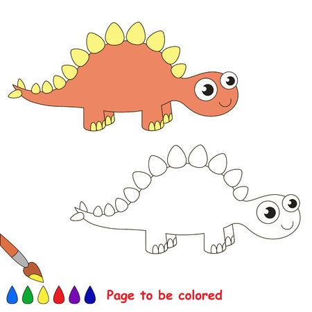 stegosaurus: Stegosaurus a ser de color. Libro de colorante para los ni�os. juego visual.