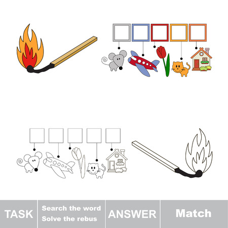 conflagration: Vector rebus game. Find solution and write the hidden word Match Stock Photo