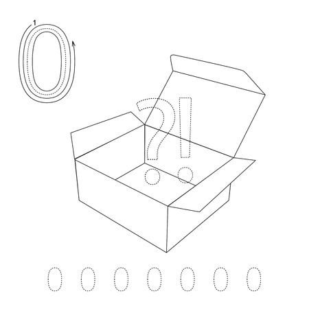 illustrated: Illustrated worksheet. Learn handwriting. Page to be colored. Tracing worksheet for figure Zero