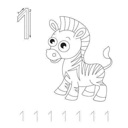illustrated: Illustrated worksheet. Learn handwriting. Page to be colored. Tracing worksheet for figure One Illustration