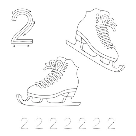 illustrated: Illustrated worksheet. Learn handwriting. Page to be colored. Tracing worksheet for figure Two Illustration