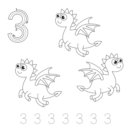 illustrated: Illustrated worksheet. Learn handwriting. Page to be colored. Tracing worksheet for figure Three