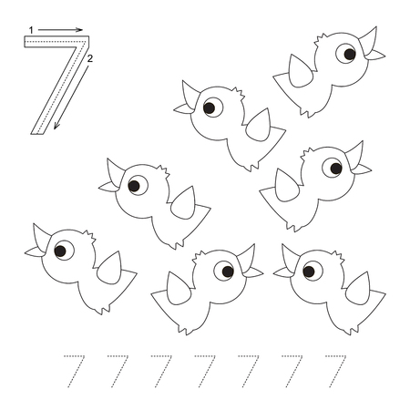 illustrated: Illustrated worksheet. Learn handwriting. Page to be colored. Tracing worksheet for figure Seven