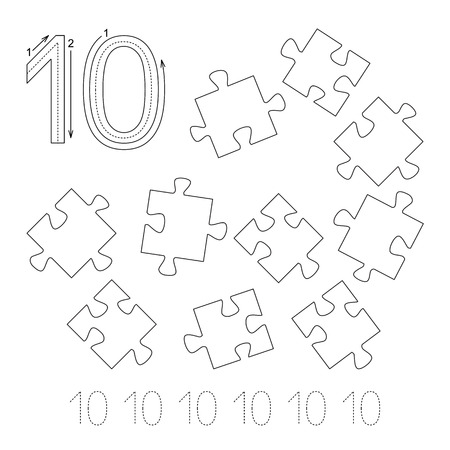 illustrated: Illustrated worksheet. Learn handwriting. Page to be colored. Tracing worksheet for figure Ten Illustration