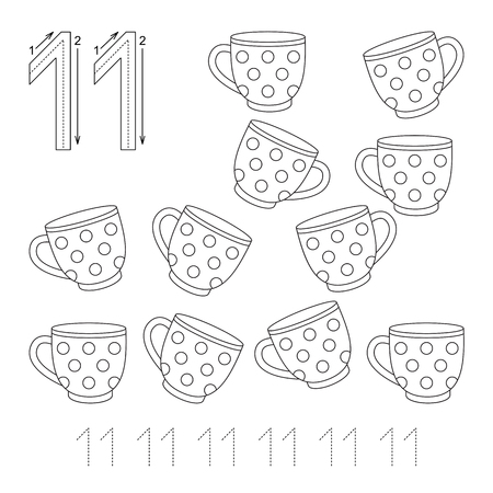 eleven: Illustrated worksheet. Learn handwriting. Page to be colored. Tracing worksheet for figure Eleven