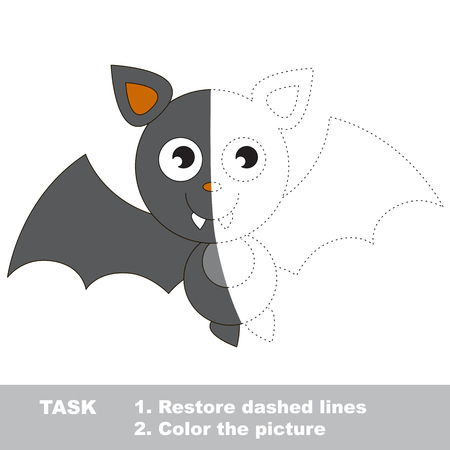 dashed: Vampire Bat in vector colorful to be traced. Restore dashed line and color the picture. Visual game for children. Worksheet to be colored.