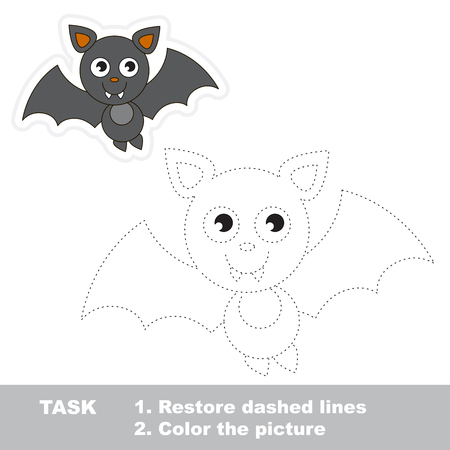 joining the dots: Vampire Bat in vector to be traced. Restore dashed line and color the picture. Trace game for children.