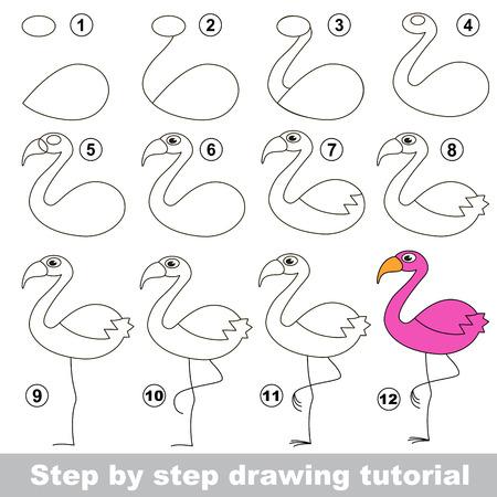 Dessin tutoriel pour les enfants. Comment dessiner le drôle Flamingo