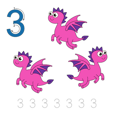 illustrated: Vector exercise illustrated alphabet. Learn handwriting. Tracing worksheet for figure Three