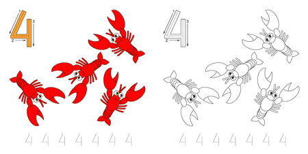 illustrated: Vector exercise illustrated alphabet. Learn handwriting. Page to be colored. Tracing worksheet for figure Four