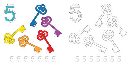 Exercice de vecteur illustré alphabet. Apprendre l'écriture. Page à colorier Feuille de traçage pour la figure 5