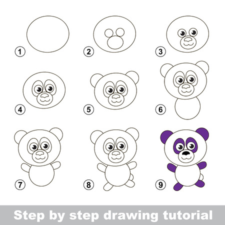black and white image drawing: Step by step drawing tutorial. Visual game for kids. How to draw a Panda