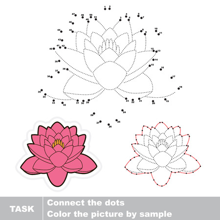 joining the dots: Lotus in vector to be traced by numbers. Vector visual game. Illustration