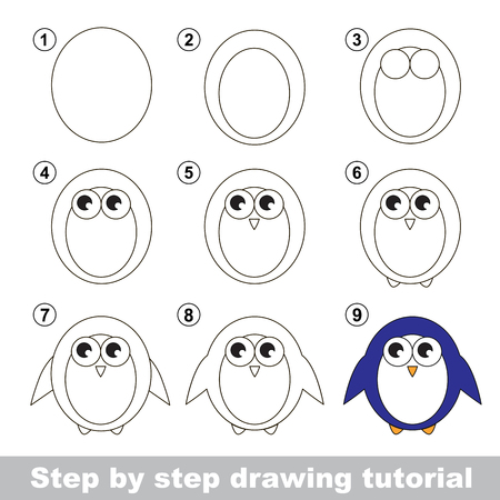 Step by step drawing tutorial. Visual game for kids. How to draw a Penguin Illustration