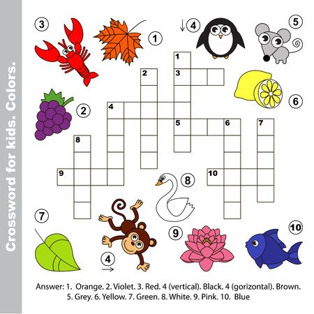 red cross red bird: Do you know color names. Crossword for kids. Illustration